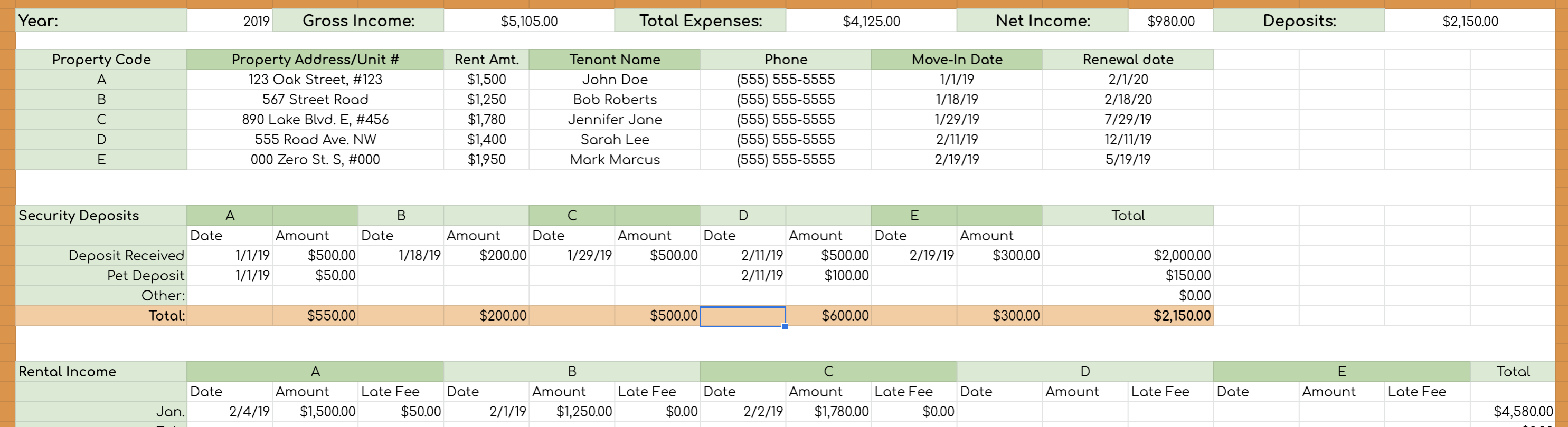 Rental Income And Expense Worksheet Propertymanagement Com